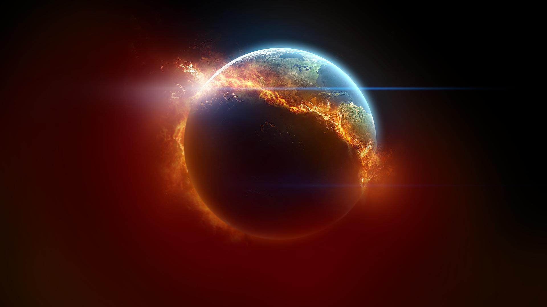 53010 3d space scene burning earth