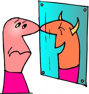 inner critic see demon in mirror clipart 19983653 284x300